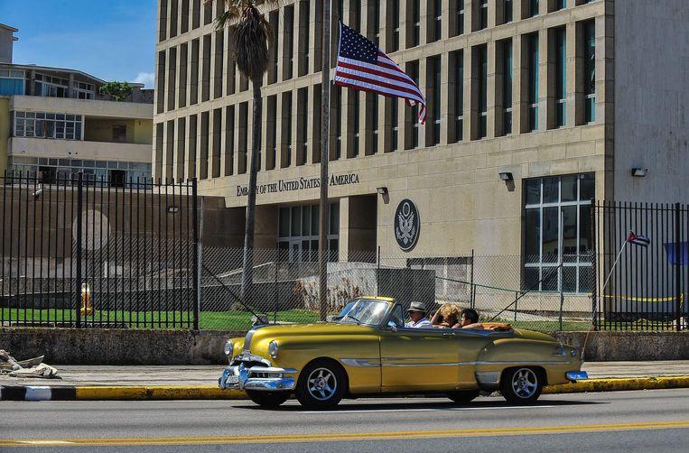 De Amerikaanse ambassade in Cuba. Beeld AFP