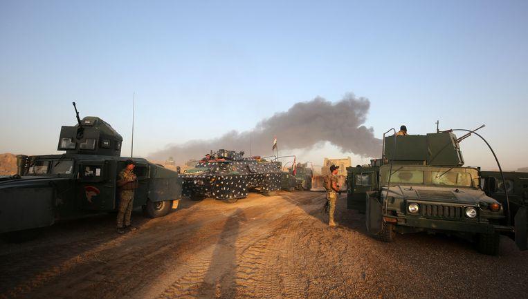 Regeringstroepen naderen de stad Fallujah. Beeld afp