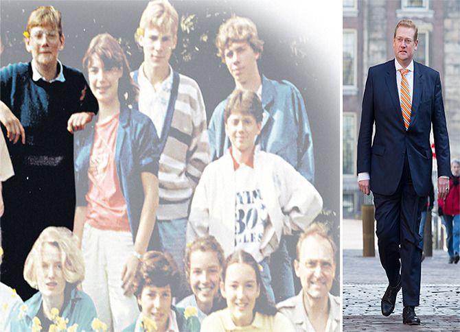 Links: Ard van der Steur op een klassenfoto, genomen toen hiji in de derde klas zat van het gymnasium Sancta Maria in Haarlem. Rechts: Van der Steur als minister van Veiligheid en Justitie op het Binnenhof
