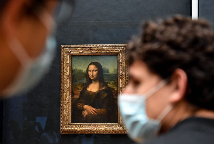 De originele Mona Lisa in het Louvre in Parijs.