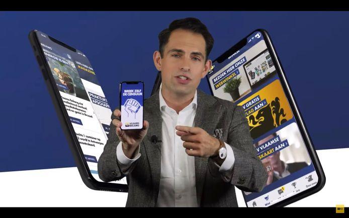 Tom Van Grieken stelt de Vlaams Belang-app voor