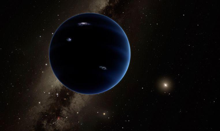 Impressie van Planeet 9, met de zon in de verte. Beeld Nasa