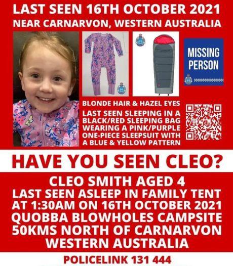 'Ze is niet weggelopen': Australische Cleo (4) verdwijnt 's nachts tijdens kampeertochtje