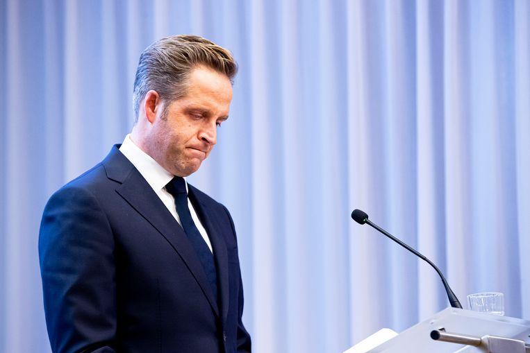 Minister van Volksgezondheid Hugo de Jonge tijdens de coronapersconferentie op 8 december. Beeld BSR Agency