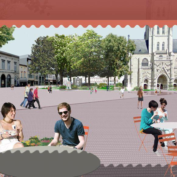 Een toekomstbeeld van het hart van de stad. De terrasjes tussen de Leuvensestraat en de Kaasmarkt zullen tot op de Markt kunnen worden uitgebreid. In de verte zie je de groene stadstuin (Heldensquare) en de waterpartij.
