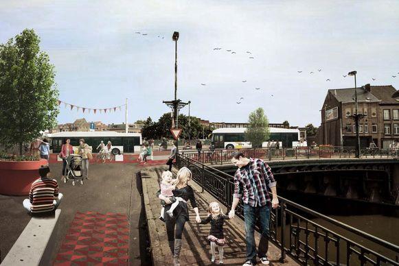 Een reuzengrote bloempot en een zitplek aan de Bargiebrug.