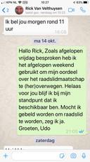 de app van Udo Koerselman waarin hij aangeeft beschikbaar te zijn als raadslid voor de VVD Elburg.
