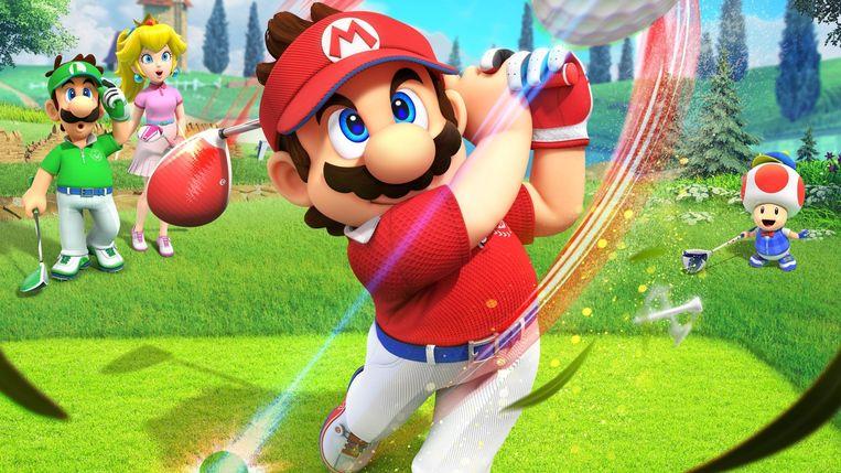 Als loodgieter mept Super Mario alles op de golfbaan weg met een ijzer 1. Beeld Nintendo
