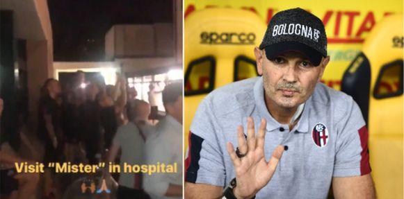 Links het bezoek aan het ziekenhuis, rechts Sinisa Mihajlovic, vorig weekend wel nog op de bank.