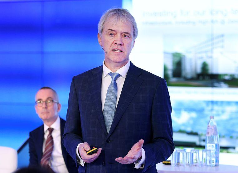 De CEO van ASML Peter Wennink tijdens de presentatie van de jaarcijfers. Beeld REUTERS/Piroschka van de Wouw