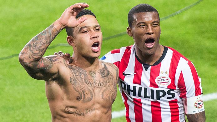 De verkoop van Memphis Depay (l) en Georginio Wijnaldum levert PSV deze zomer zon 50 miljoen euro op.