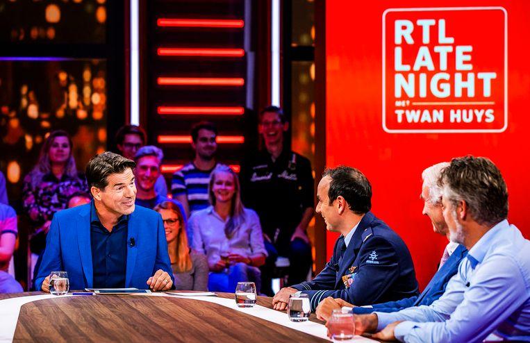 Presentator Twan Huys tijdens zijn talkshow RTL Late Night dat vecht tegen laagterecords. Beeld ANP