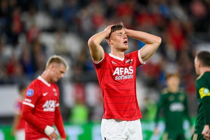 Sam Beukema baalt van dé gemiste kans op 3-1.