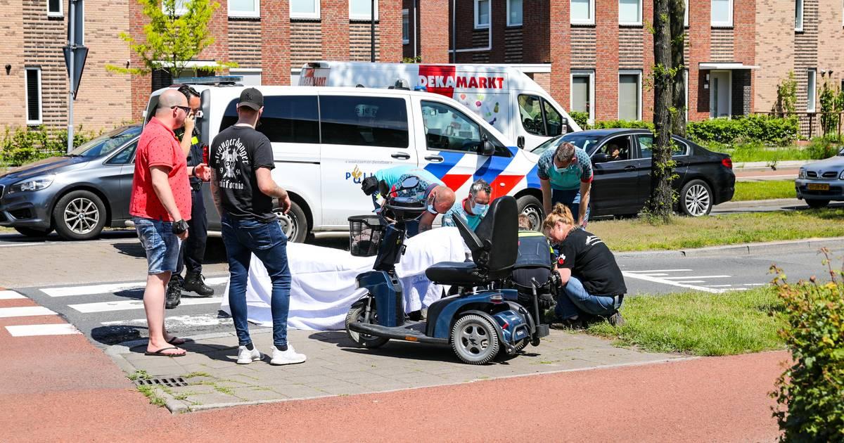 Scootmobielrijdster aangereden in Apeldoorn door bestelbus van hondenuitlaatservice.