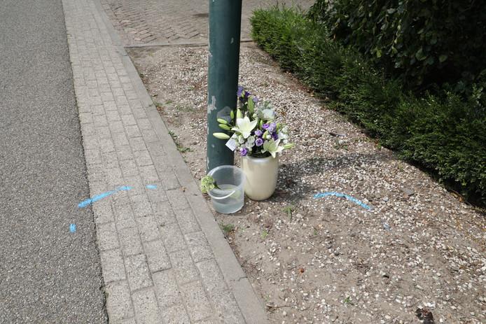 Op de Grotestraat in Heesbeen zijn woensdag bloemen gelegd bij de plek waar een 48-jarige man uit Waalwijk is verongelukt.