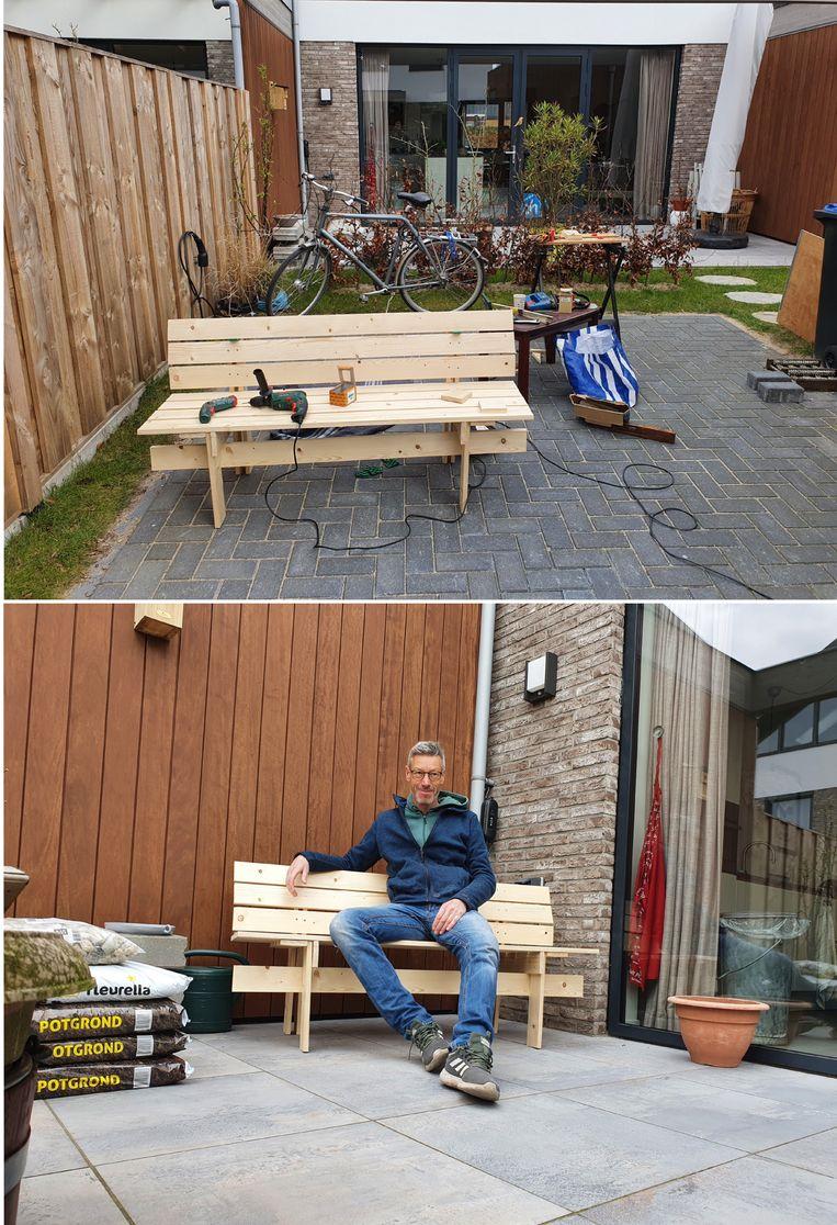 Gerrit Albada, Hilversum: '1 uur hout halen, 2 uur zagen en 3 uur schroeven. Per ongeluk de planken gehalveerd, waardoor het bankje iets verfijnder is geworden. Dat pakt in mijn ogen niet verkeerd uit.' Beeld