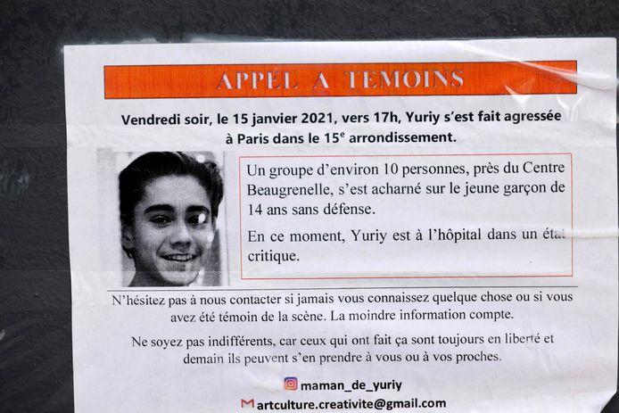 Een oproep naar getuigen werd verspreid in Parijs