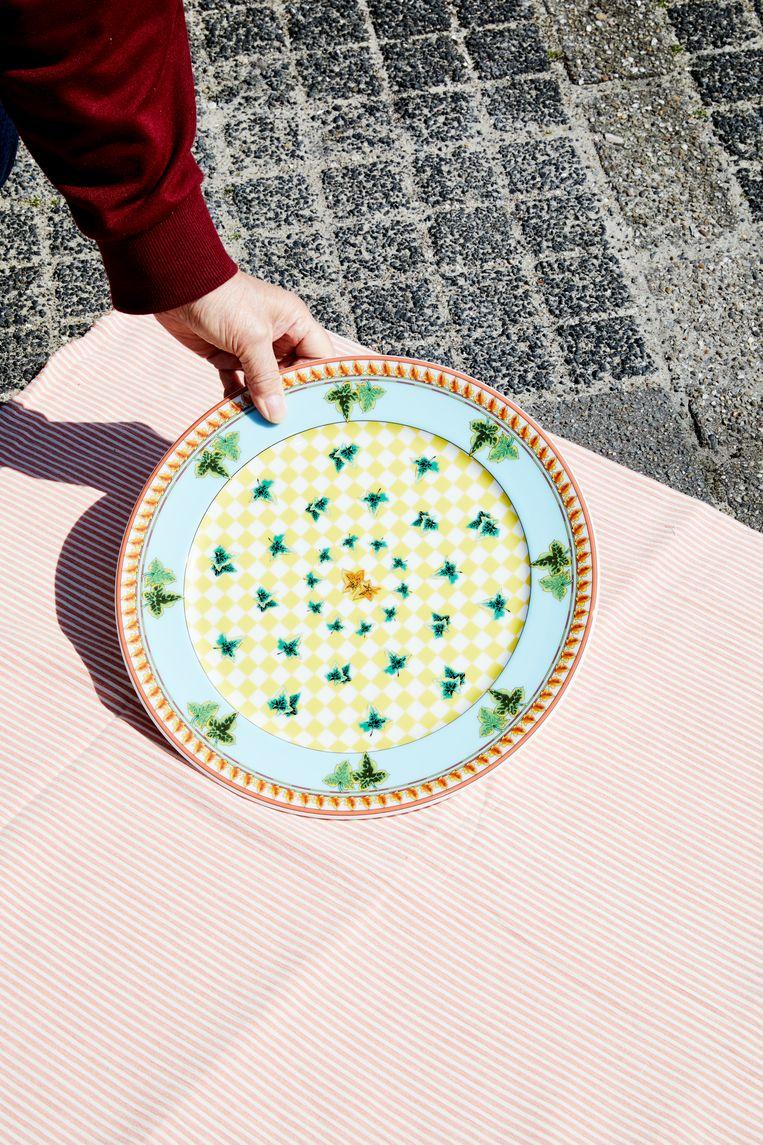 Nooit gebruikt bord van Rosenthal uit de Ivy Leaves Passion-serie, ontworpen door Gianni Versace. Beeld Marie Wanders