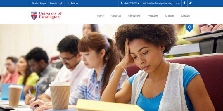 De website van de fictieve University of Farmington, die werd opgezet door de Amerikaanse immigratiedienst om fraude met studentenvisa te ontmaskeren. Beeld
