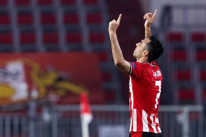 Eran Zahavi was de grote man tegen Olympiakos, maar dat baatte PSV uiteindelijk niet.