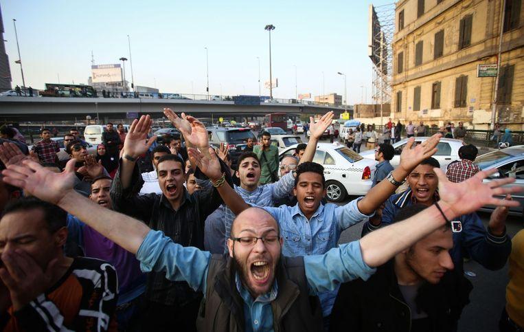 Demonstranten in Caïro op vrijdag. Beeld afp