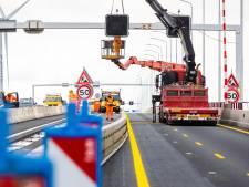 Zweten op de Haringvlietbrug met extra smalle rijstroken: 'Flink smaller dan je gewend bent'