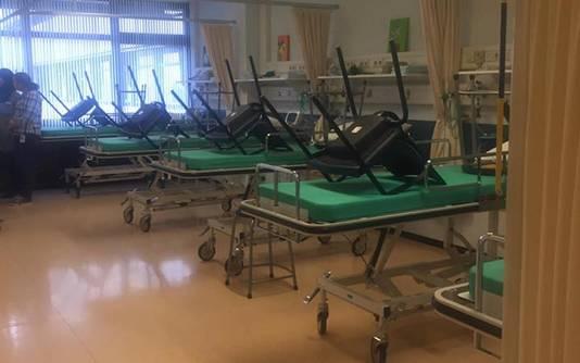 De ziekenhuisbedden van het lege Slotervaartziekenhuis