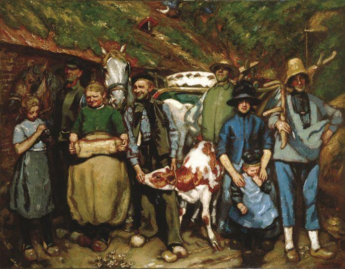 Boerenfamilie te Stroe (1922), werk van Martin Monnickendam (Amsterdam 1874-1943).