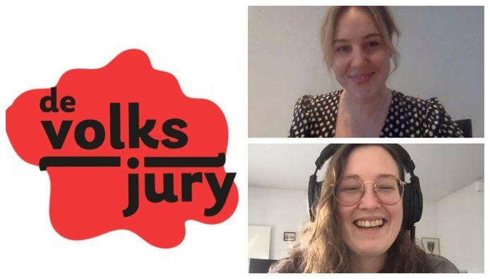 De succesvolle podcast 'de volksjury' is een creatie van  Laura Scheerlinck (boven) en Silke Vandenbroeck (onder). We zaten samen voor een Zoom-interview.