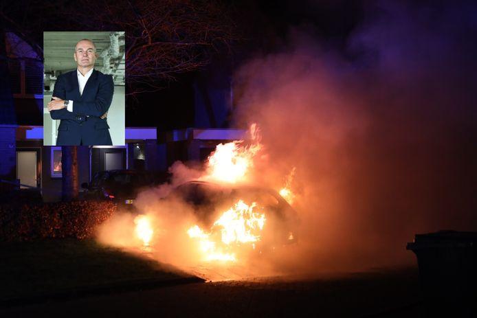 Brandende auto in Schijndel. Inzet: advocaat Casimir Vink, eigenaar van het voertuig