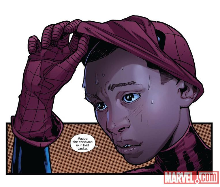 In de comics is het diversiteit troef: zo kruipt de latino Miles Morales in een bepaalde reeks in de huid van Spider-Man.   Beeld AFP