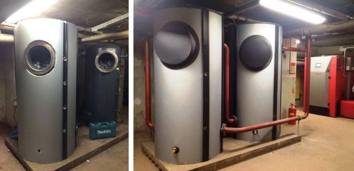 Global-E-Systems gebruikt PCM-materialen voor de opslag van warmte of koude, bijvoorbeeld in deze buffervaten.