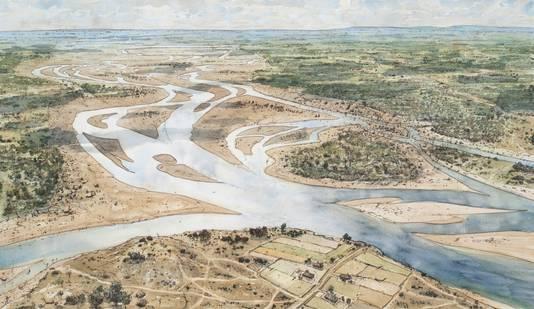Het stroomgebied van de IJssel in het jaar 750, met Deventer op de voorgrond. Deze ingekleurde tekening van stadstekenaar Peter Paul Hattinga Verschure hangt als een wandkleed van 6 meter breed in de vernieuwde Museum de Waag.