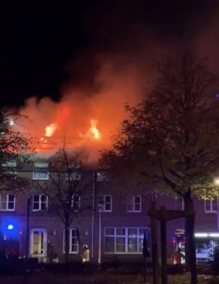 Brand in het toekomstige asielcentrum.