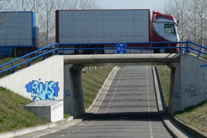 De fietstunnel die opgesierd wordt met 'schilderingen' van TunnelArt.