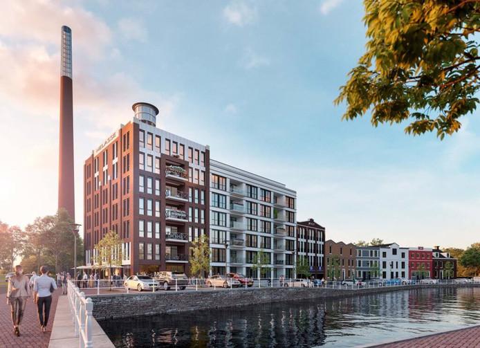 Nieuwbouw Nedalcoterrein zoals te zien op de site van Stadsmakelaar Bergen op Zoom. Pal tegenover Groot Arsenaal verrijst dit complex. De Vereniging Binnenstad vindt dat niet passen.