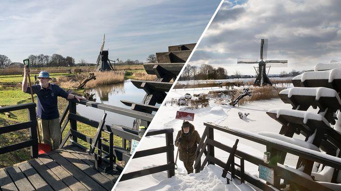Links de foto van molenaar Dirk Minor in de lentezon met zijn sneeuwschep in Laag-Keppel. Rechts met zijn sneeuwschep een week eerder.