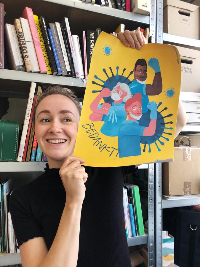 Met de tekening bedankt Merel Corduwener niet alleen de artsen en verplegers van de ic, maar ook  de supermarktmedewerkers en vuilophalers.