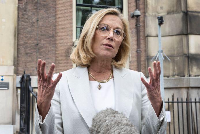 D66-leider Sigrid Kaag bij de uitloop van de coalitieonderhandelingen.