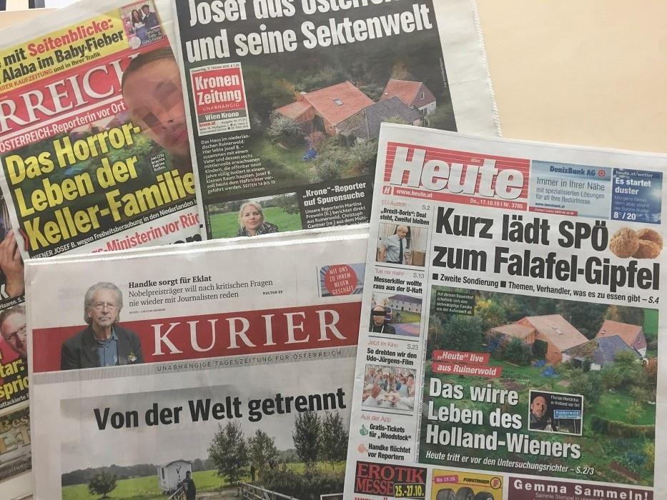Het nieuws uit Ruinerwold bepaalde vanmorgen nog steeds de voorpagina's van de populaire kranten in Oostenrijk