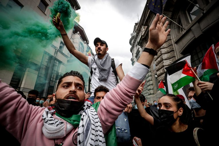 Ook in Brussel werd deze week betoogd tegen de bezetting van Palestina. Beeld EPA