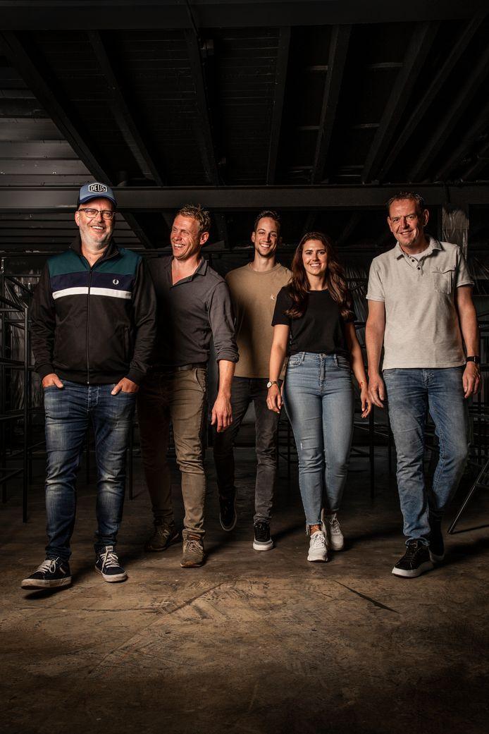 De ondernemers achter House of Beers. Vlnr.  Rob Neijts, Hugo van Zutphen, Marcel en Milou Willemen en Robin van Soest.