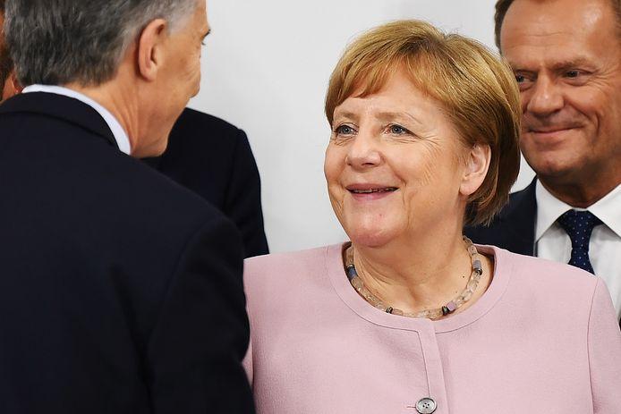 Angela Merkel tijdens de G20-top in Osaka.