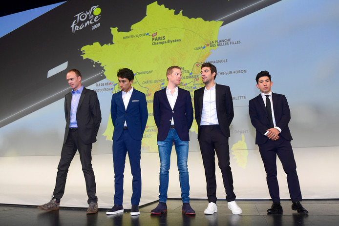 Paris - France - wielrennen - cycling - cyclisme - radsport - FROOME Chris (GBR) of TEAM INEOS, BERNAL GOMEZ Egan Arley (COL) of TEAM INEOS, KRUIJSWIJK Steven (NED) of TEAM JUMBO - VISMA, PINOT Thibaut (FRA) of GROUPAMA - FDJ and EWAN Caleb (AUS) of LOTTO SOUDAL   pictured during the presentation of the 2020 Tour de France at the Palais des Congres on October 15, 2019 in Paris, France, 15/10/2019  - Photo: Peter de Voecht/PN/Cor Vos © 2019