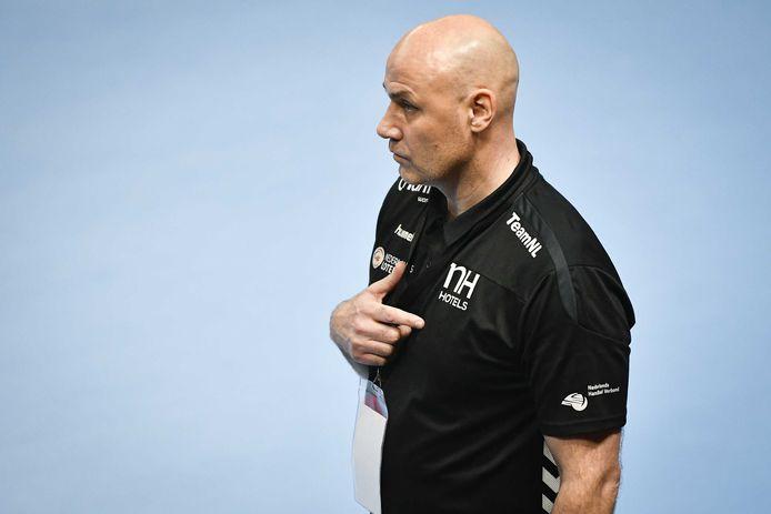 Coach van het Nederlandse handbalteam Erlingur Richardsson tijdens de EK-kwalificatiewedstrijd. ANP JURE MAKOVEC