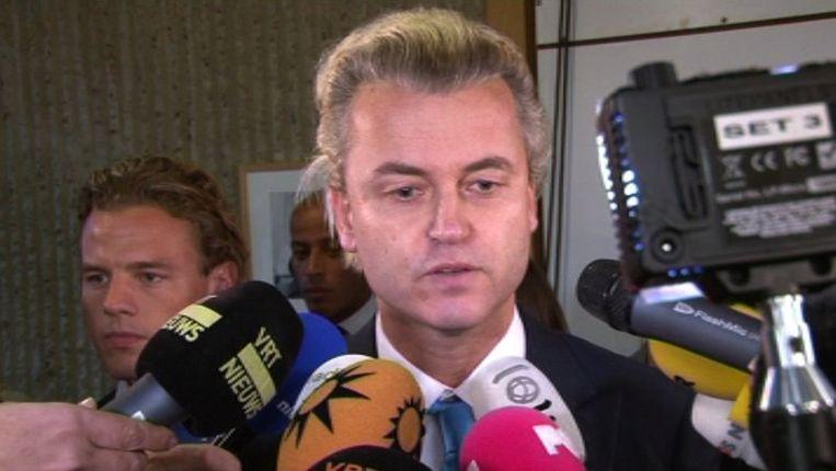 Wilders staat de media te woord. Beeld