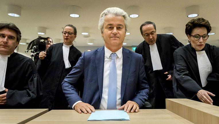 Geert Wilders in de rechtszaal. Beeld Anp
