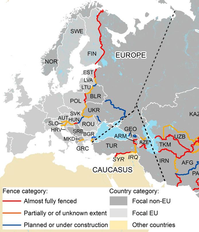 Op de kaart is te zien welke landen grenshekken hebben.