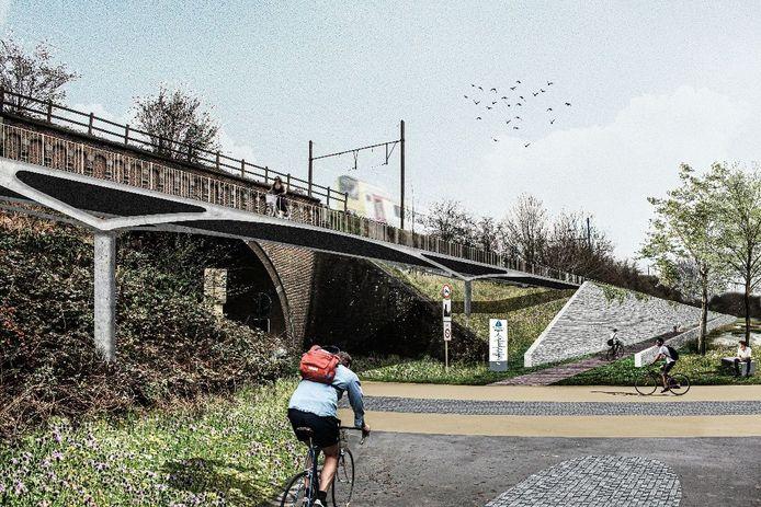Toekomstbeeld: Simulatie kruising FR0 Witloofstraat met fietsbrug en toegangshelling