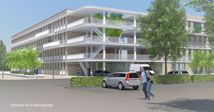 Impressie van het gebouw dat Alliantie Delfaerde wil neerzetten voor buitenlandse werknemers op de sportvelden van Baskensburg.